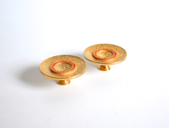Pair of Rare Mid Century Gold and Orange Enamel Door Pulls