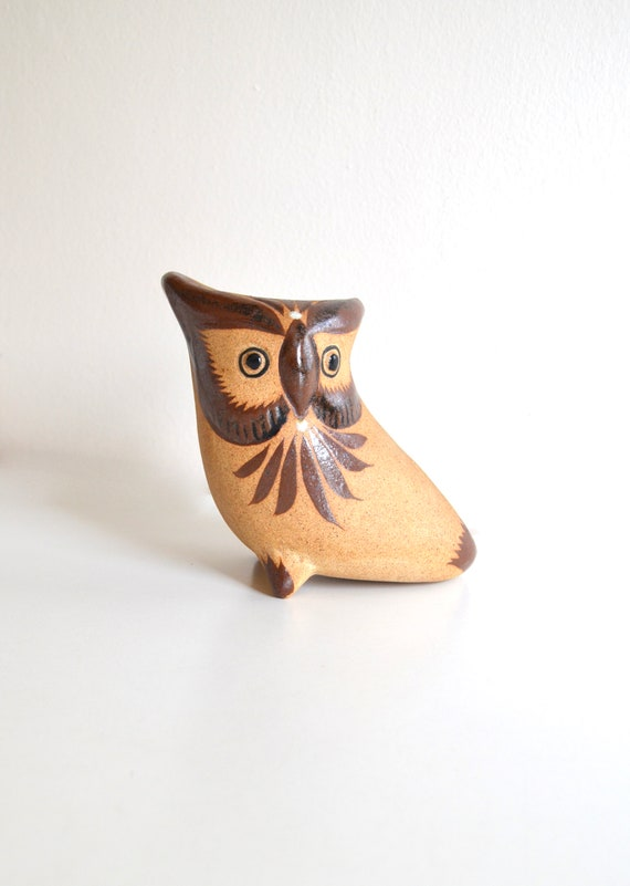 Vintage Mexican Ceramic Horned Owl