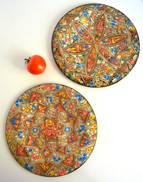 Pair of Vintage Etched and Painted Copper Hanging Plates from Turkey