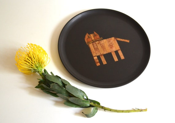 Mid Century Matte Black Couroc Plate with Wood Inlay Cat Design