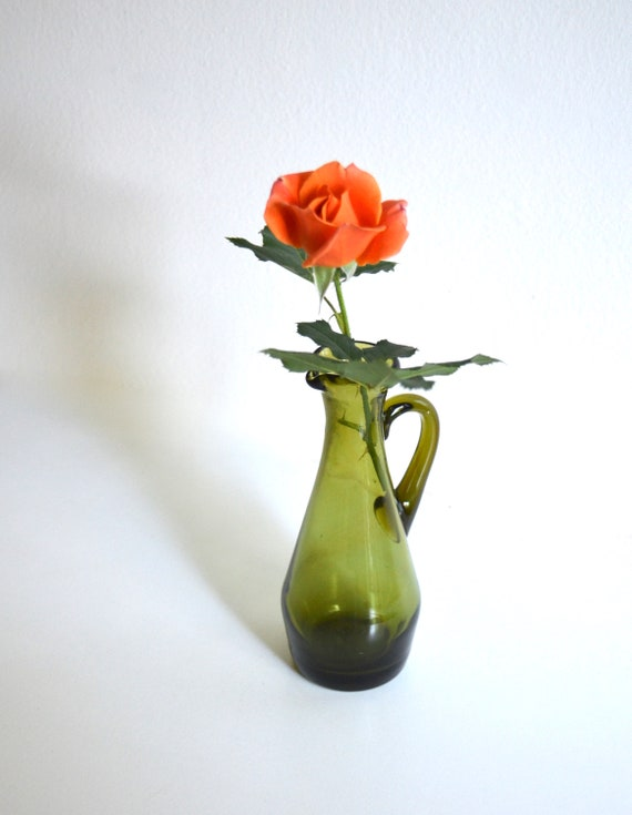 Vintage Avocado Green Glass Small Pitcher