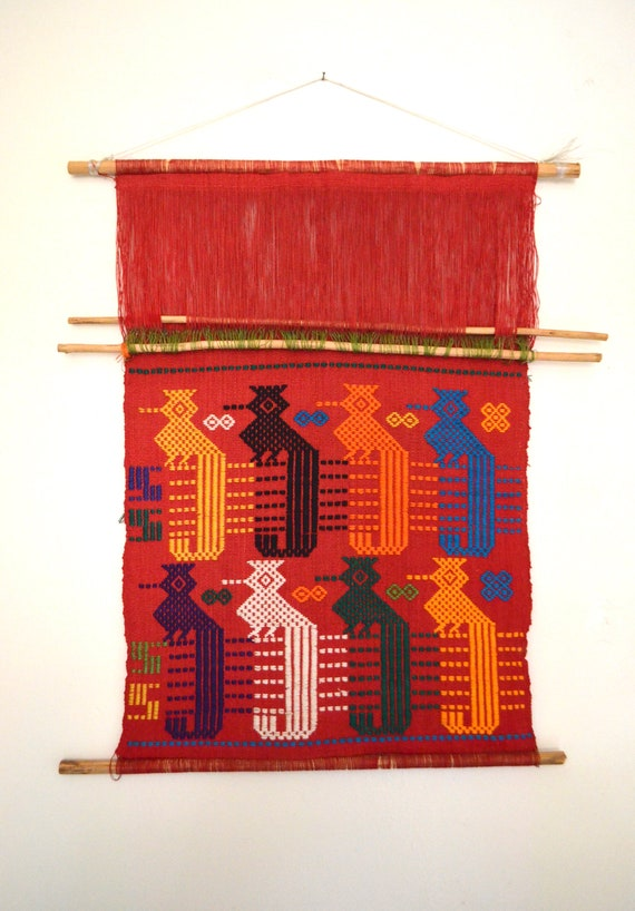 Vintage Red Woven Quetzal Wall Hanging