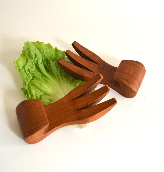 Vintage Teak Short Handled Salad Servers