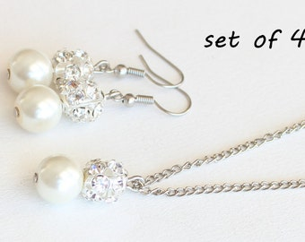 Bridesmaid jewelry set Set of 4 bridesmaid necklace bridesmaid earrings pearl necklace wedding gift wedding jewelry bridal jewelry