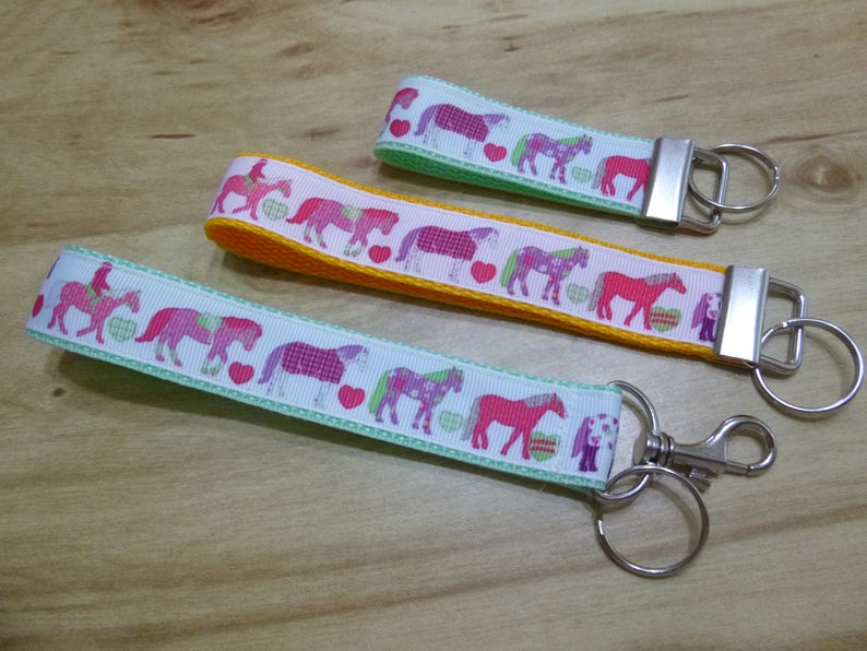 Horse Key Fob in 6 Styles, Sizes & 30 Colors, Key Strap, 1
