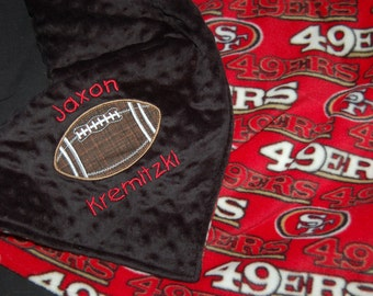 San Francisco 49ers NFL Double sided fleece baby blanket minky or fleece  backing GET it PERSONALIZED toddler blanket or make it bigger! 13d6d35db
