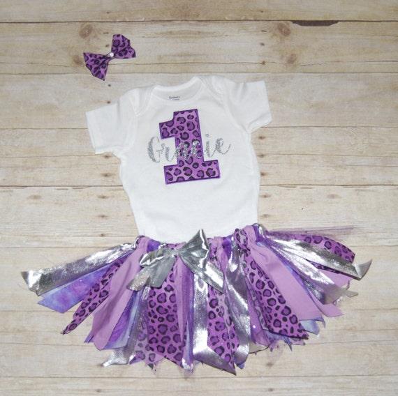 f5f45aa212412 Personnalisé 1er anniversaire tenue léopard violet argent