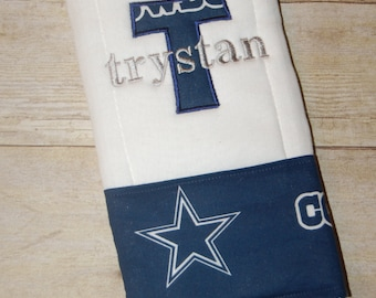 Personalized dallas cowboys baby blanket toddler custom made dallas cowboys 6 ply burp cloth personalized with applique and name or i drool silver and blue baby shower gift negle Choice Image