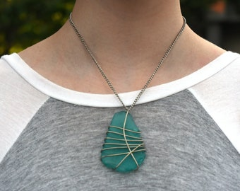 Wire-Wrapped Sea Glass Necklace