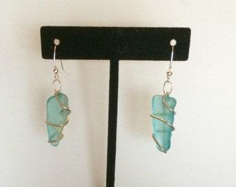 Wire-Wrapped Sea Glass Earrings
