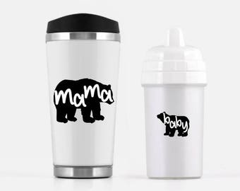 Mama Bear Travel Mug, Baby Bear Sippy Cup Baby Shower Gift Set - Mother's Day Gift, Unique Gifts, Eco-Friendly Nature Lover Gift For Sister