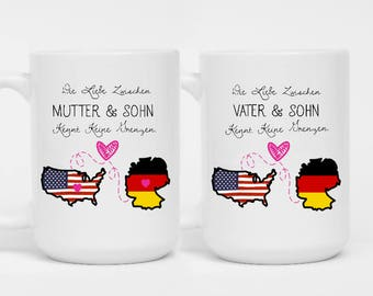 SET OF 2 - Die Liebe Zwischen Mutter & Sohn Kennt Keine Grenzen Mug - The Love Between A Father And Son Knows No Distance - Parents Gift Set