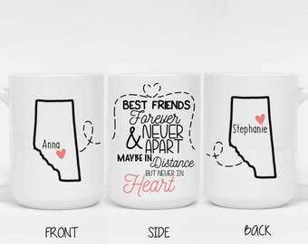Best Friends Forever And Never Apart Maybe In Distance But Never In Heart Mug - Best Friend Gift, Friend Birthday Gift, Friend Long Distance
