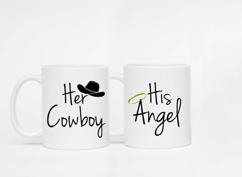 Satz von 2 Tassen ihr Cowboy seinen Engel ihre   Etsy