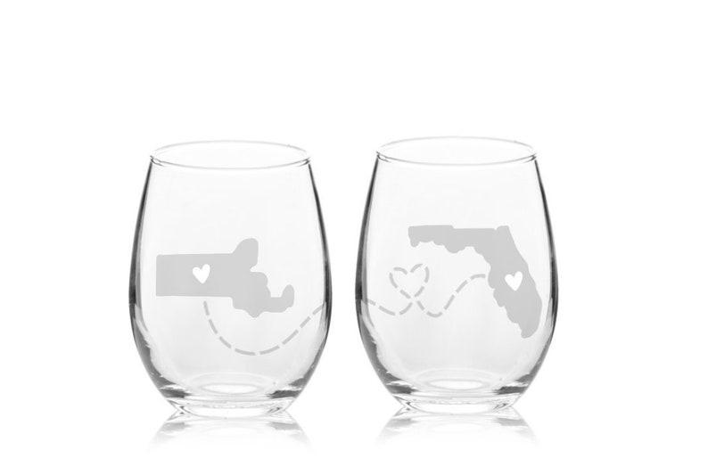 SET OF 2 Long Distance Wine Glass  Goodbye Gift  image 0