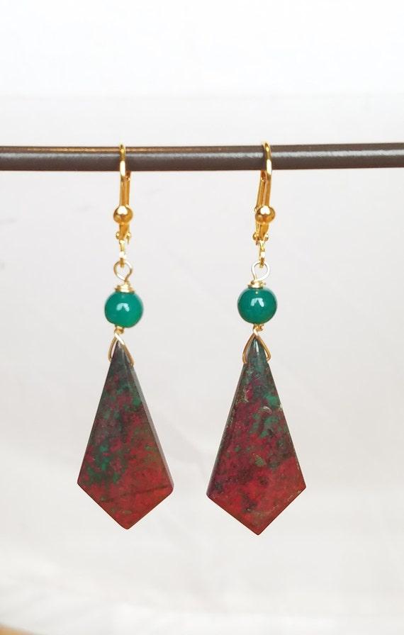 Bloodstone Beaded Dangle Gemstone Earrings