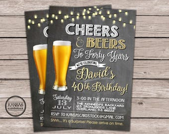Cheers And Beers Birthday Party Invitation 40th DIY Printable Card