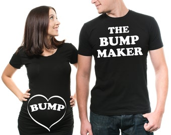 40b5071d Couple Matching T-Shirts Funny Bump Couple Pregnancy Top Dad Maternity T- Shirt