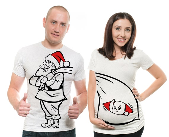 Couple Matching T-Shirts Pregnancy Top Maternity Christmas