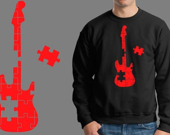 Guitar Puzzle Music Jersey Sweatshirt Fleece Music Fan