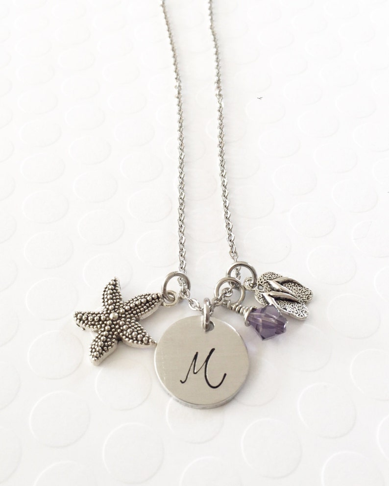 Beachy necklace Flip flops Hand stamped necklace Fun in the sun Summer necklace Initial necklace Starfish Personalized jewelry