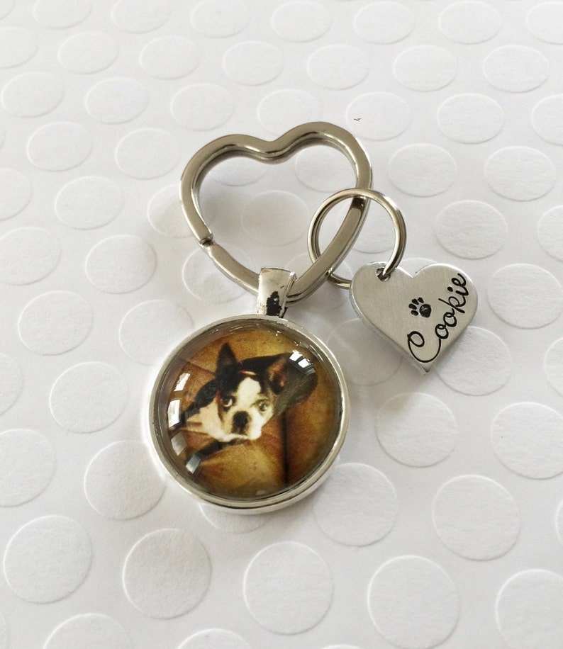 Pet jewelry Pendant with photo of pet Dog necklace Handstamped heart necklace Photo necklace Photo pendant w handstamped heart tag