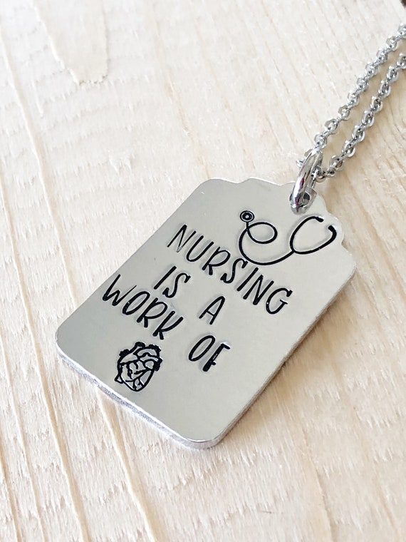 Nursing present NURSE Nursing gift Gift for a nurse Hand Stamped Necklace Custom necklace Nursing necklace Nursing keychain
