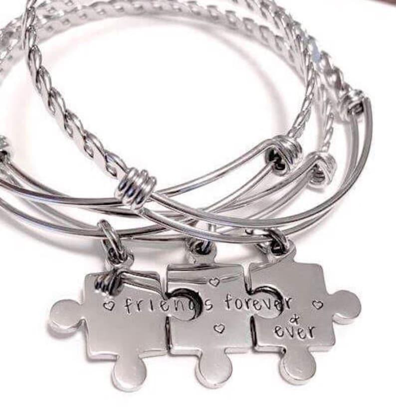 526d57685bcc1 Three best friends, Best friend bracelets, Hand stamped bracelet, Puzzle  piece jewelry, Best friends jewelry, Matching bracelets for friends