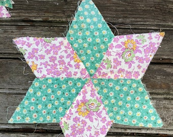 Quilt Star 6 Point Feed Sack Fabric Authentic Vintage c.1930