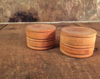 Pair Rustic Turned Wood Treen Pill Boxes / Vintage Farmhouse Décor