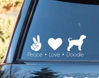 Peace • Love • Doodle Vinyl Decal - Labradoodle Goldendoodle (with text) 88635cde543