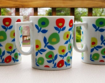 Green, Red, Yellow and Blue Flowers Vintage Mugs Coffee or Tea