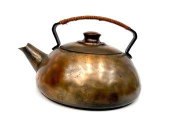 Rare Hand-Hammered Antique Copper Craftsman Studios Tea Kettle 1920's Copper Teapot