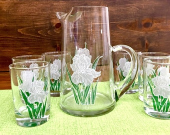 Iris Flowers Juice Pitcher and 6 Glasses