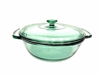 Anchor Hocking Green Glass Casserole 9 Inch 2 Quart Round Casserole Dish with Lid
