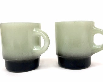 Fire King Coffee Mugs, Light Gray with Black Base, Set of 2, 1970's