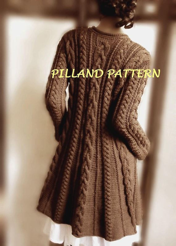 Cable Knit Coat Sweater Pdf Knitting Pattern Aran Knit Coat Etsy
