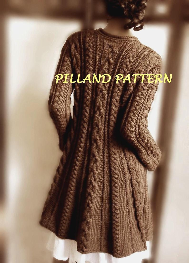 Cable Knit Coat Sweater Knitting Pattern Aran Knit Coat Pdf Etsy