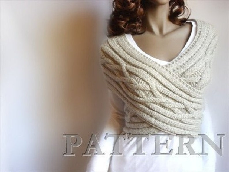 Knitting Pattern Cabled Sweater Pattern Cowl  Vest Sweater image 0