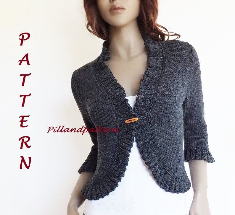83ed90ebcd1e Knitting Pattern Women s Bolero Ruffled Borders Cardigan