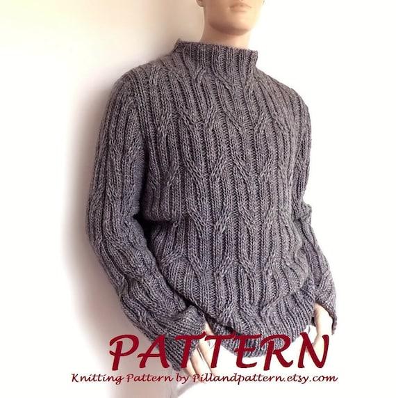Men sweater Cable knit pullover knitting pattern PDF pattern | Etsy