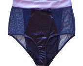 "Deep blue satin panels and lavander satin waist band, high waisted panty ""Bourbon"" sheer mesh sides, satin women lingerie, handmade"