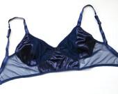 "Low rise ""regular"" panties and no wire bra, set, sheer mesh sides, satin deep blue, bralette, see-through sides, larger straps if ask"