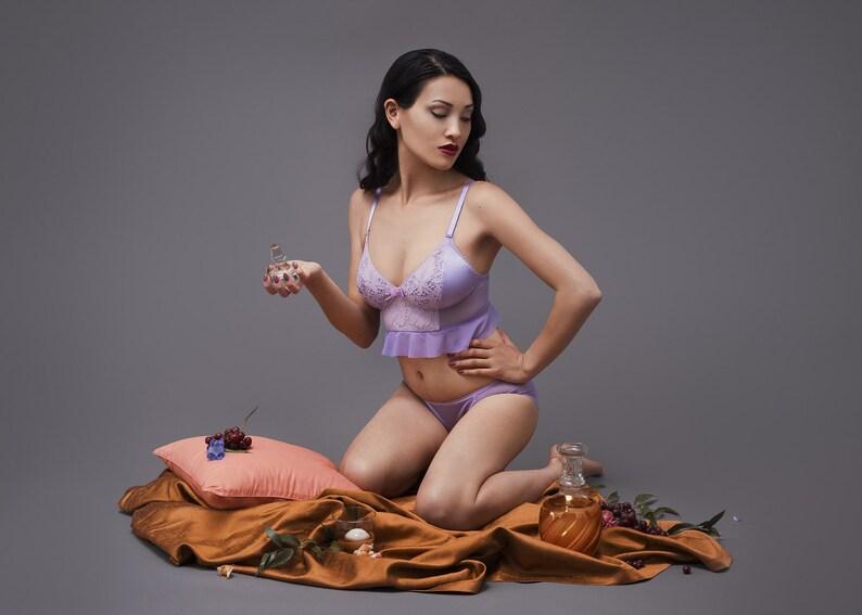 Frilly bra and low rise panties Martini set image 0