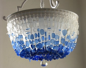 Sea Glass Chandelier Lighting FLUSH MOUNT Ceiling Light Fixture Coastal  Decor Beach Glass Lighting Sea Glass