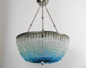 sea glass chandelier. Transitional Beach Glass Sea Chandelier Lighting Ceiling Fixture Cottage Light B