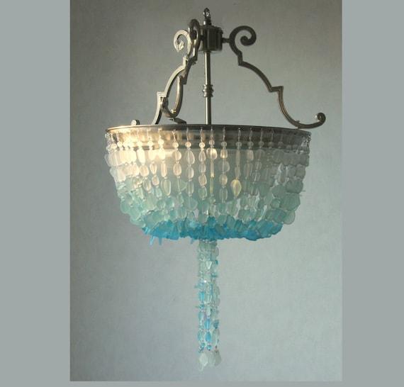 Sea Glass Chandelier Lighting Blue Ombre Coastal Decor Beach