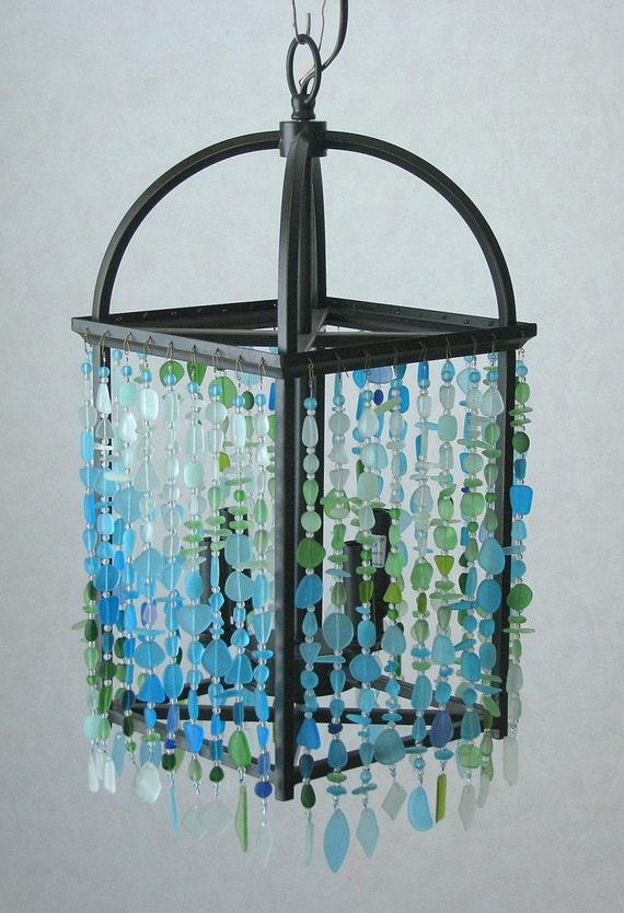Sea Glass Chandelier Coastal Mission Prairie Beach Craftsman Ceiling Fixture   mysite
