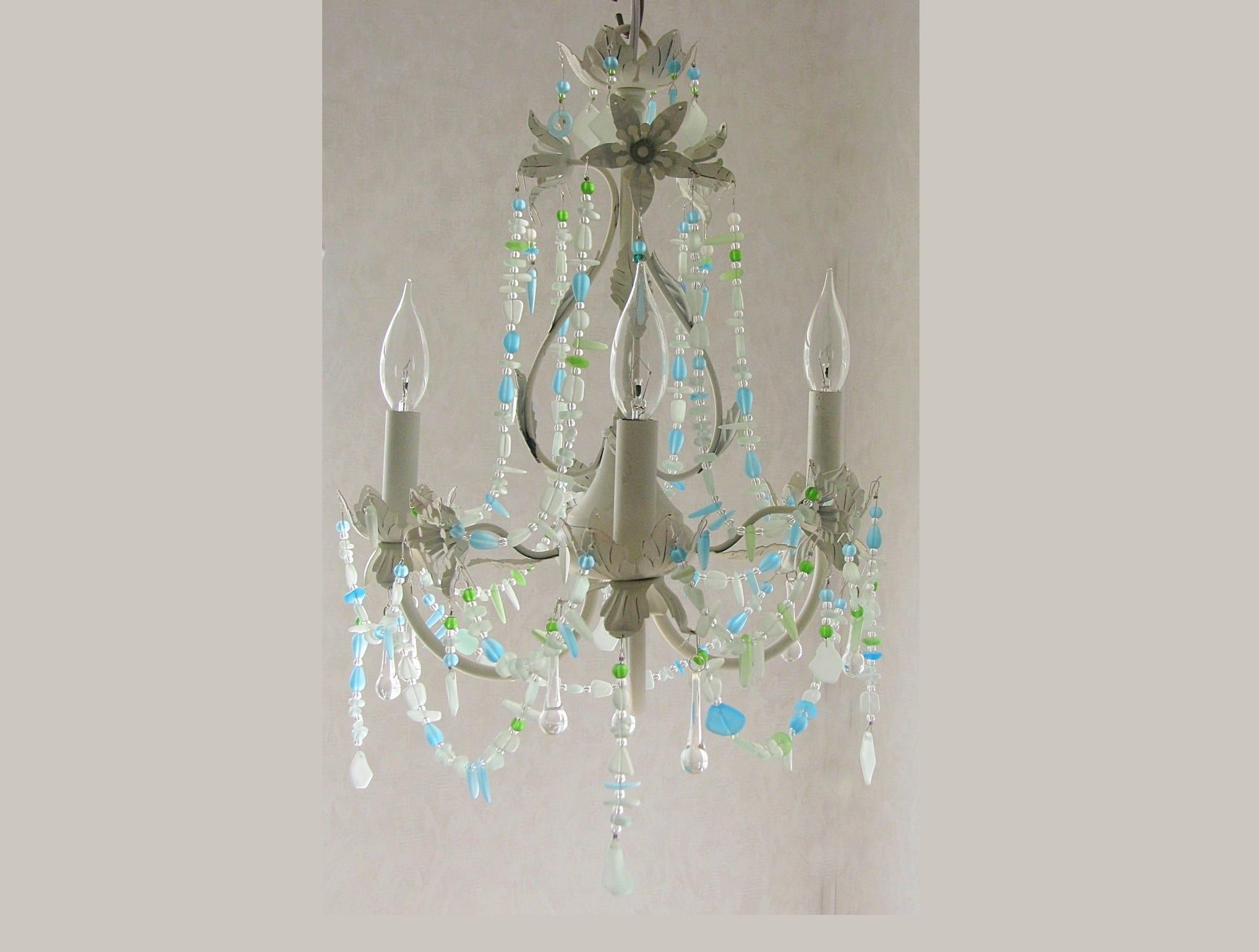 Sea glass lighting fixture chandelier beach cottage shabby chic coastal decor beach glass crystal chandelier tole light fixture floral light