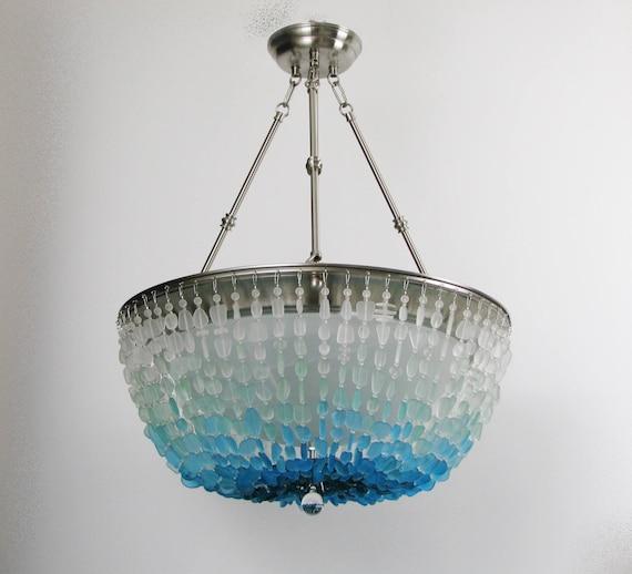 Sea Glass Chandelier Lighting Fixture Coastal Decor Blue Ombre Beach Glass | mysite